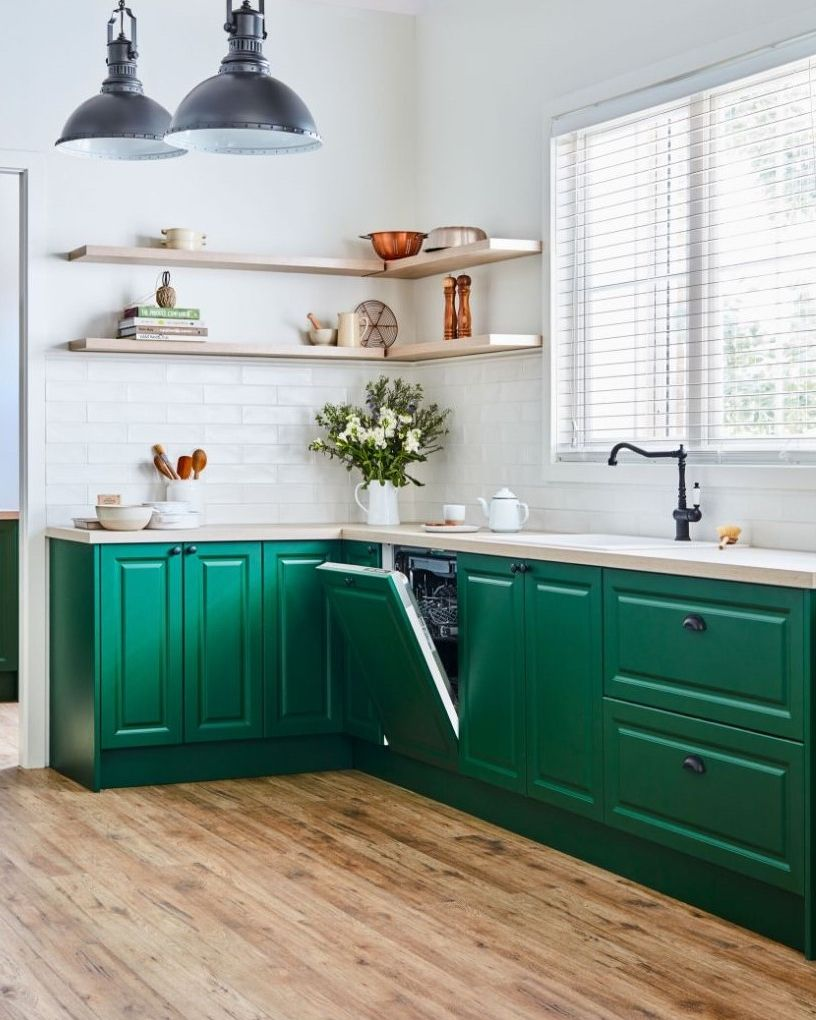 we love the country vibe this kitchen emulates to get this look our vivid basil doors in the on kaboodle kitchen microwave id=70991