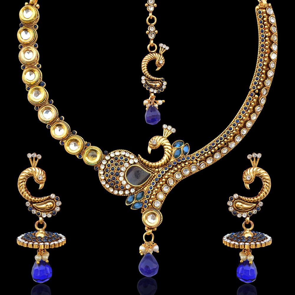 Coloured stones peacock on a branch kundan pearl indian ethnic