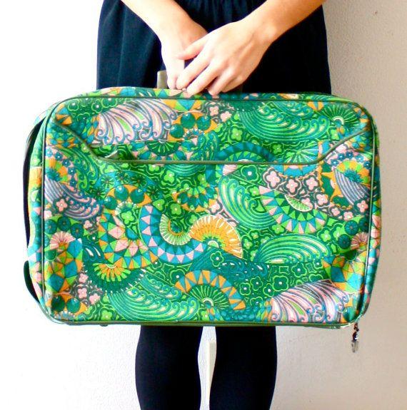 Vintage aztec navajo green boho large luggage by ThisVintageGirl, $41.00