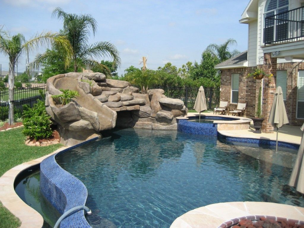 Inground Pools With Waterfalls And Slides comfortable pool hot tub combo : richards hot tubs and pools free