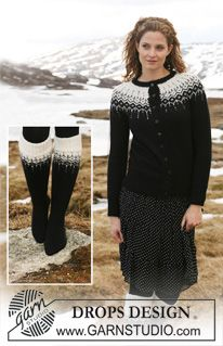 """Kuviollinen DROPS jakku pyöreällä kaarrokkeella """"Alpaca""""- ja """"Glitter"""" -langoista. Koot S-XXXL. Pitkät sukat """"Fabel""""-langasta. ~ DROPS Design"""