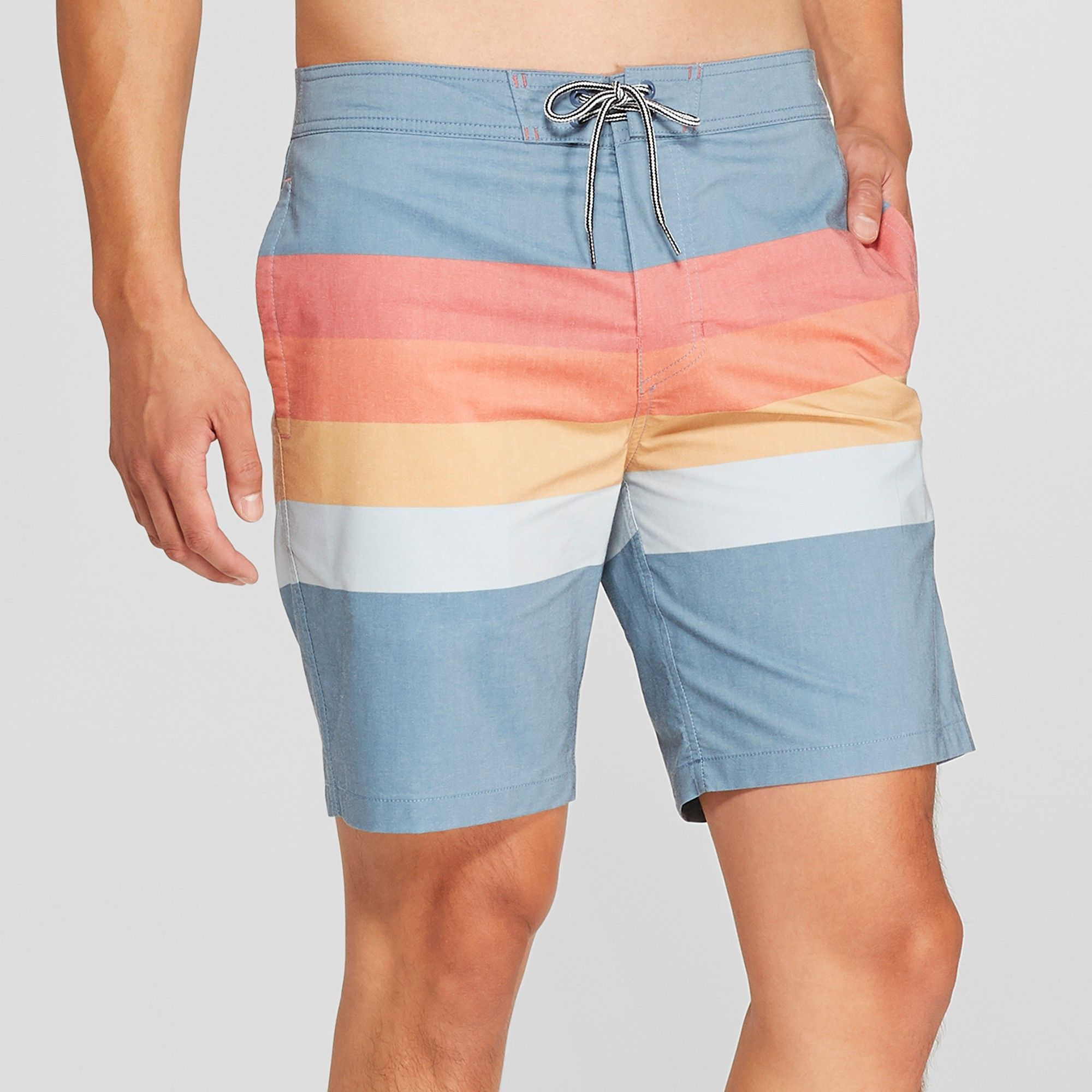 2564ab8ace Men's 8.5 Striped Bands Board Shorts - Goodfellow & Co Cadet Blue 30 ...