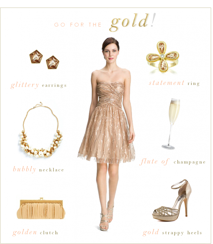 What color accessories go with gold dress
