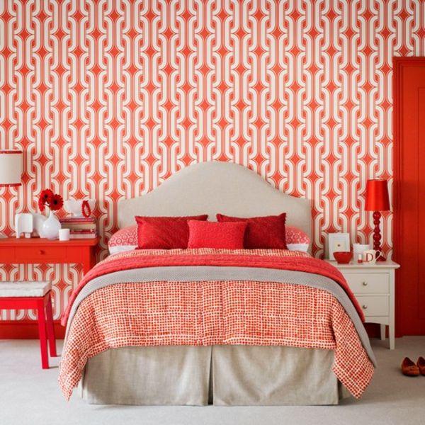 Schlafzimmer Wandmuster Tapeten Komplett Gestalten Rot Farben