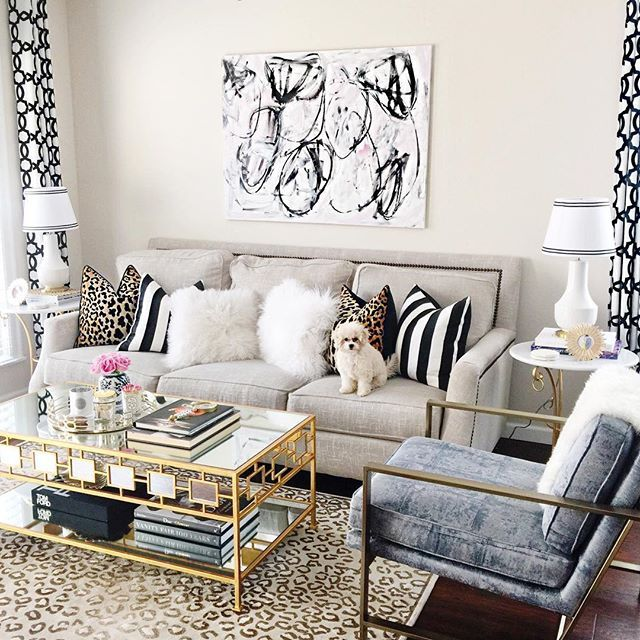 Playful And Posh This Luxe Glam Style Living Room Interior