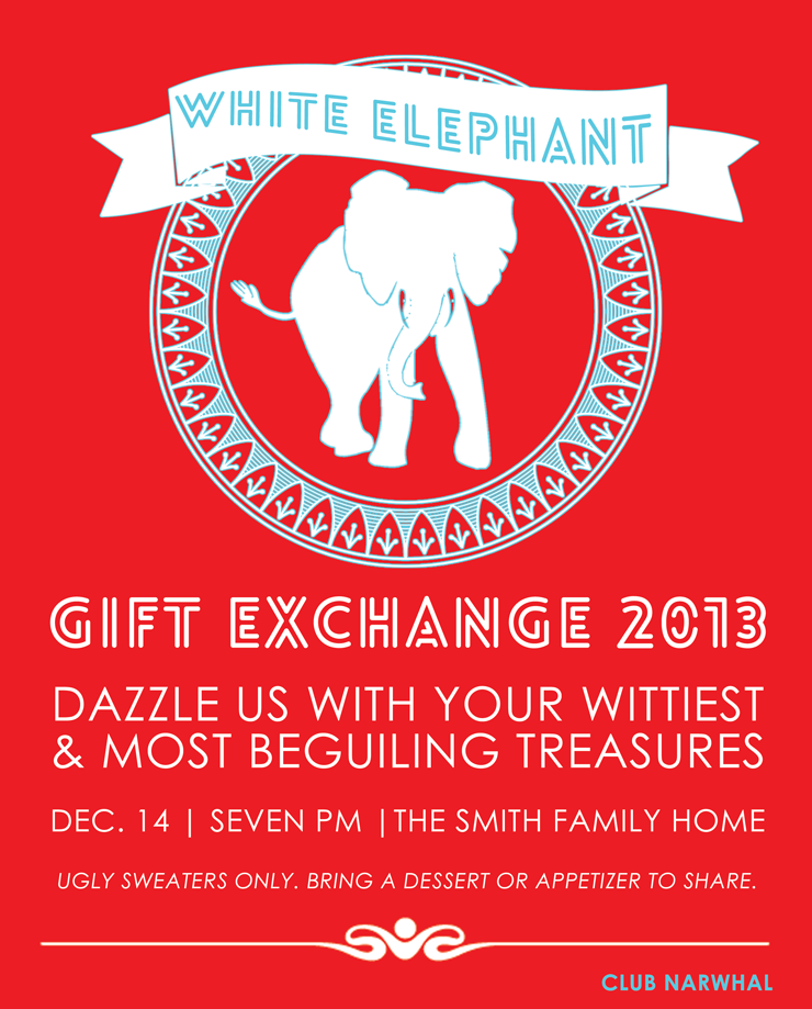 White Elephant Gift Exchange Christmas Party Invitation White Elephant Gifts Exchange White Elephant Invitations Elephant Gifts