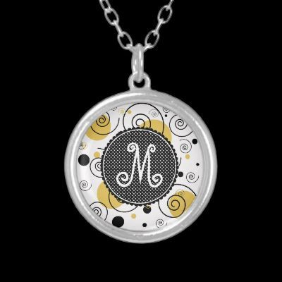 TBA Cute Polka Dots and Swirls Monogram Necklace by expressyoursoul