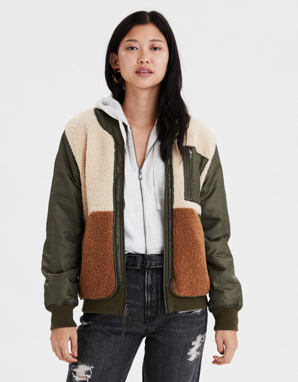 Ae Reversible Fleece Bomber Jacket Destroyed Denim Jacket Sherpa Lined Denim Jacket Lined Denim Jacket [ 1282 x 1000 Pixel ]