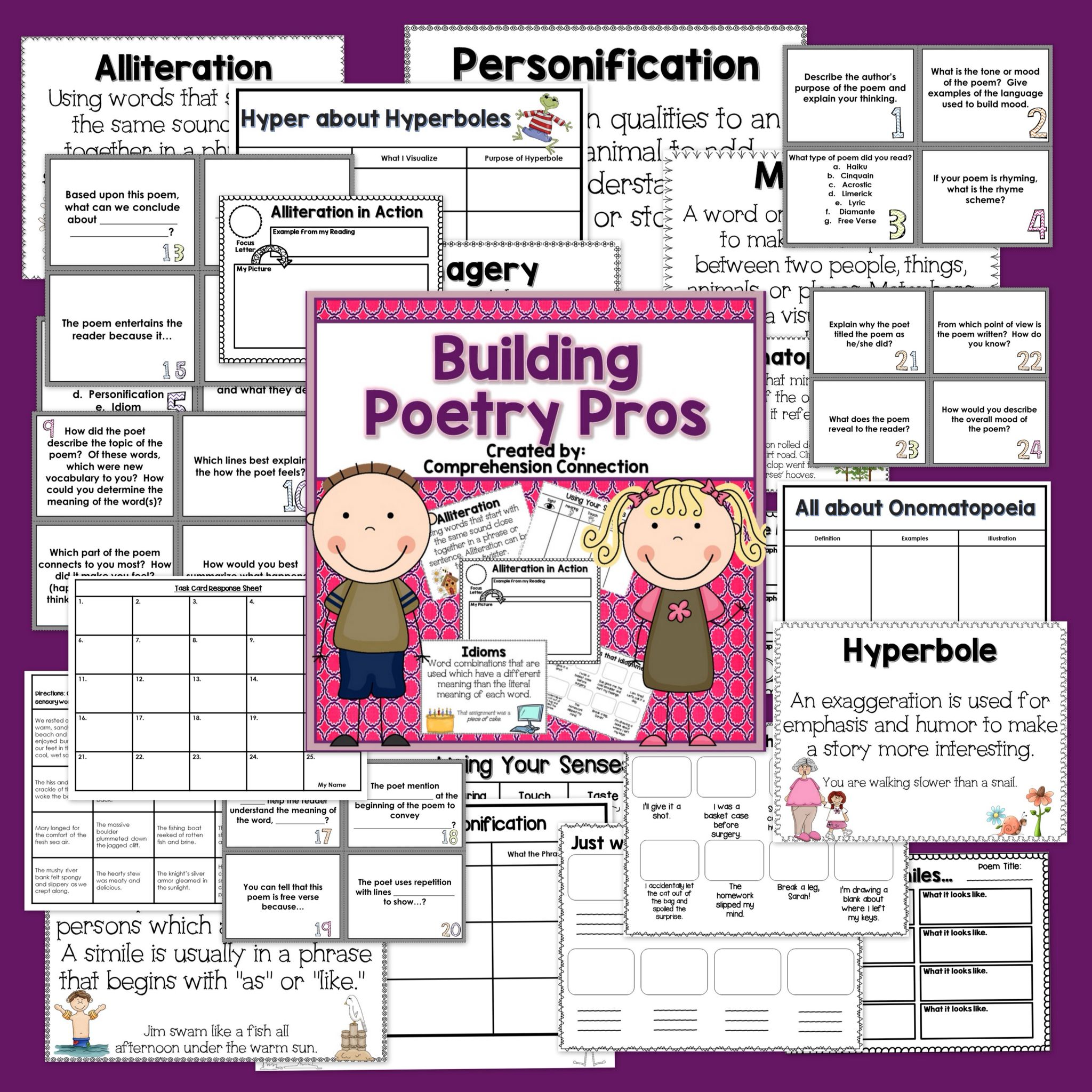 This product includes printable anchor charts for each type of figurative language and  graphic organizer as well poetry analysis question also building pros teaching tools rh pinterest