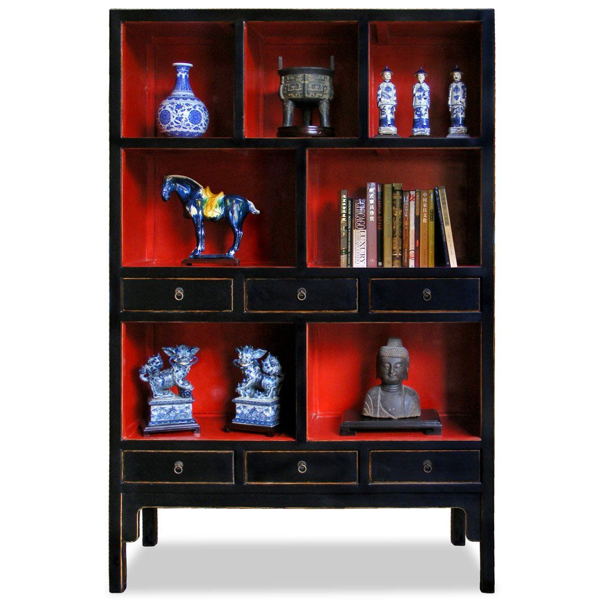 Amazon.com   55in Ming Style Elmwood Display Cabinet   Black/Red   Curio  Cabinets