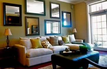 Transitional Living Room. Love all of the mirrors. Makes the room feel more open.