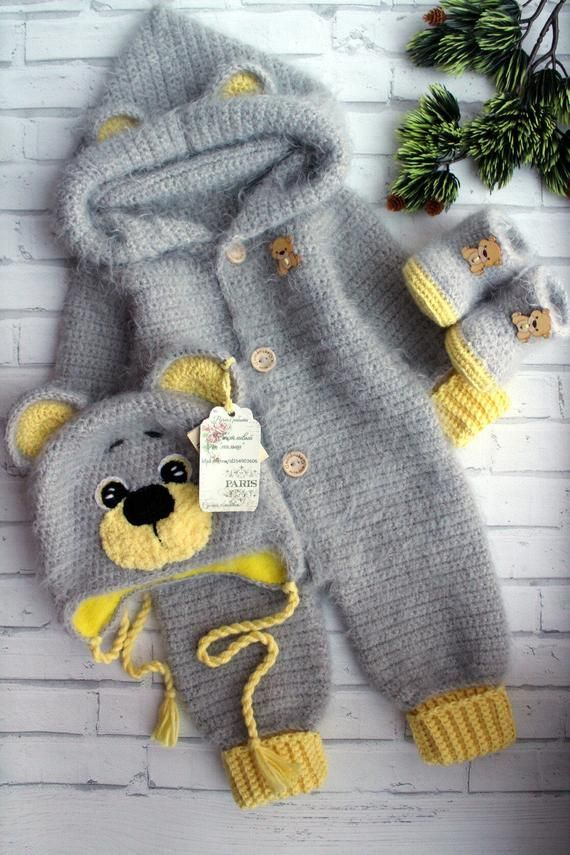 Photo of crochet pattern coming home outfit Pretty bear Expecting for baby boy gift pregnancy reveal gender party shower  with hand newborn giftbox