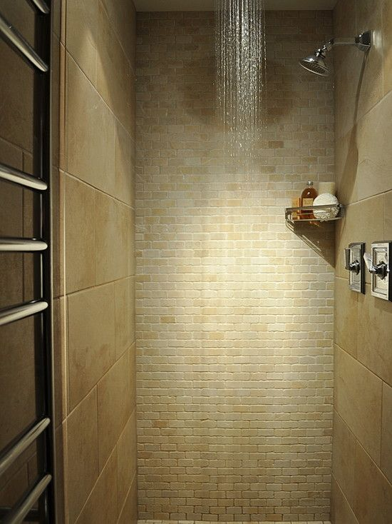 Small shower space the the change in tile surface makes - Stall showers small spaces photos ...