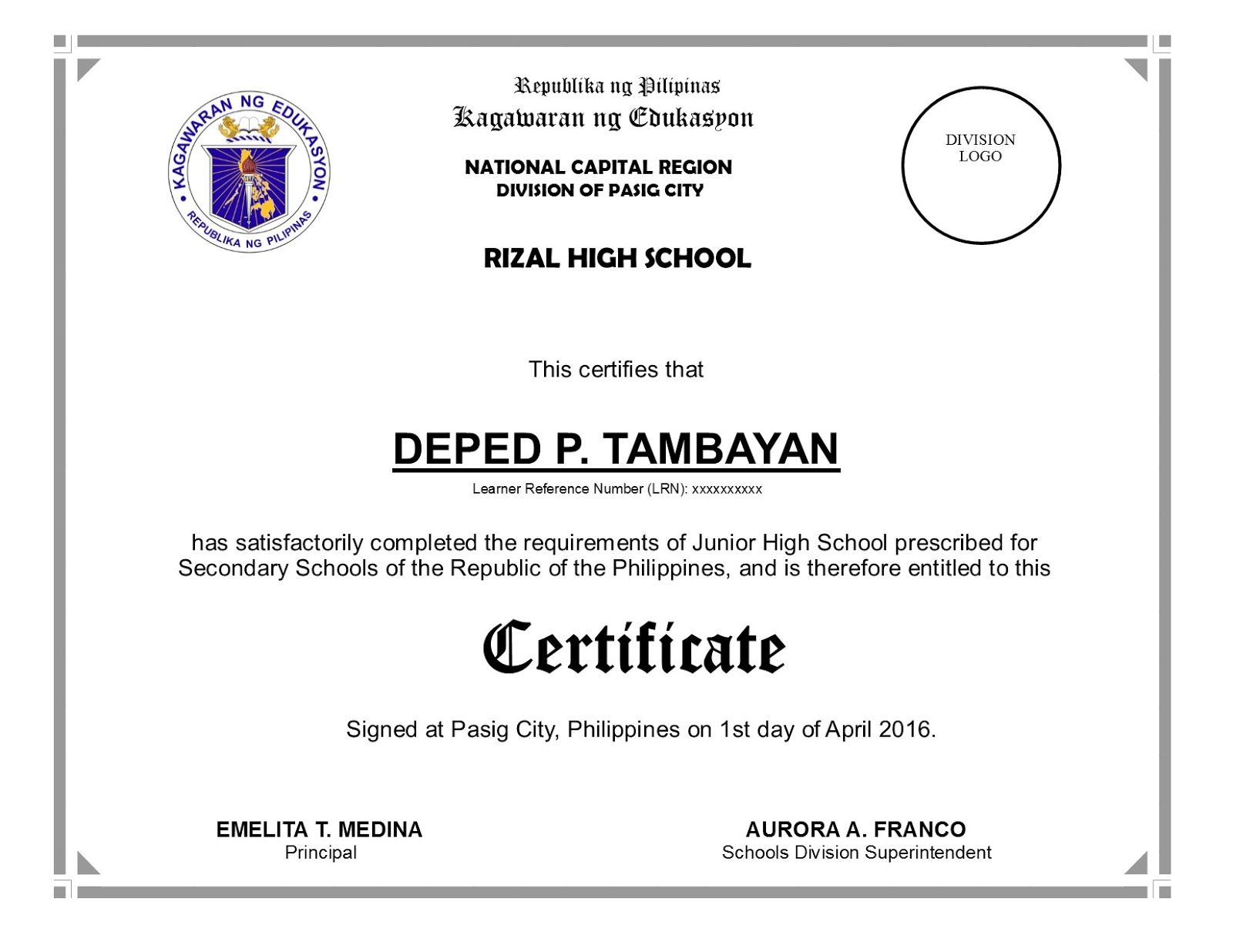 deped diploma sample wordings