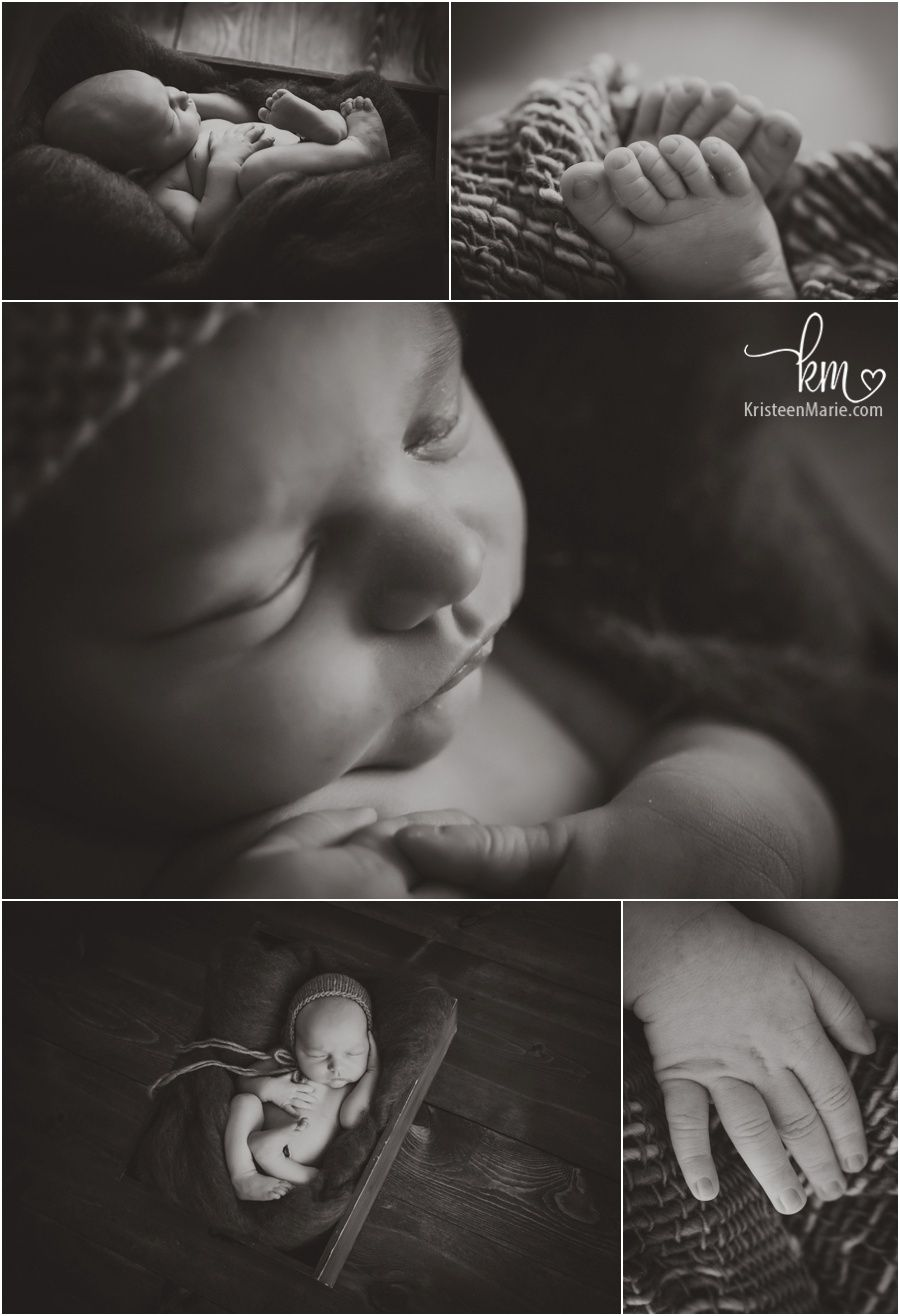 Black and white newborn photograpy newborn baby features with macro lens