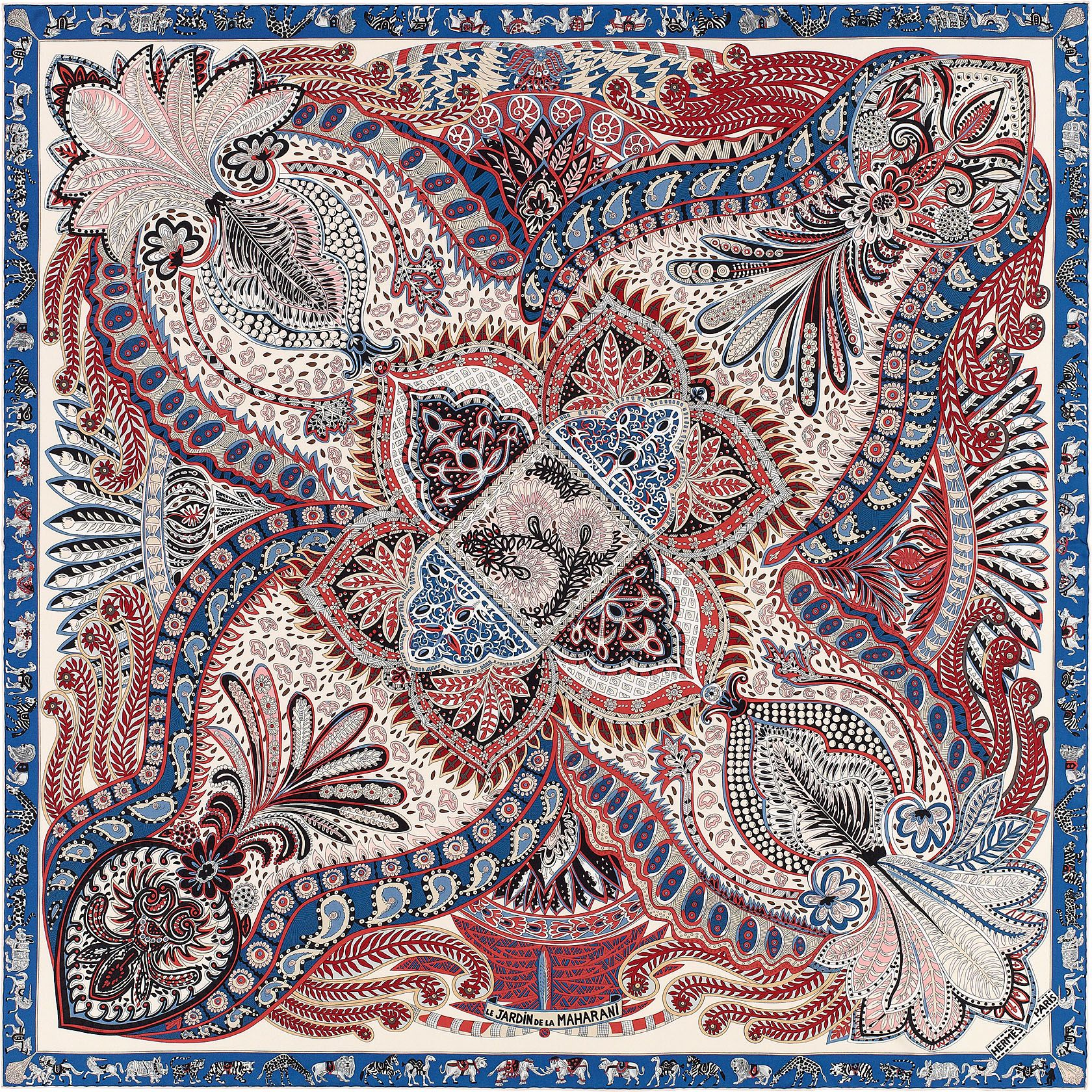 "72a5493e8656 36"" x 36"" scarf Hermès   Le Jardin de la Maharani   Scarves"