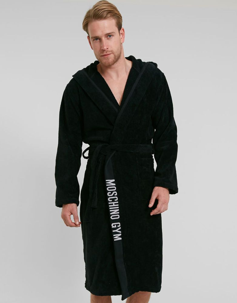 moschino 100 cotton bathrobe gym menu0027s bathroom luxury towelling dressing gown - Mens Bathrobes
