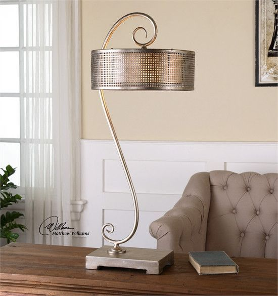 Uttermost Dalou Scroll Silver Table Lamp (26503) | Products, Silver ...