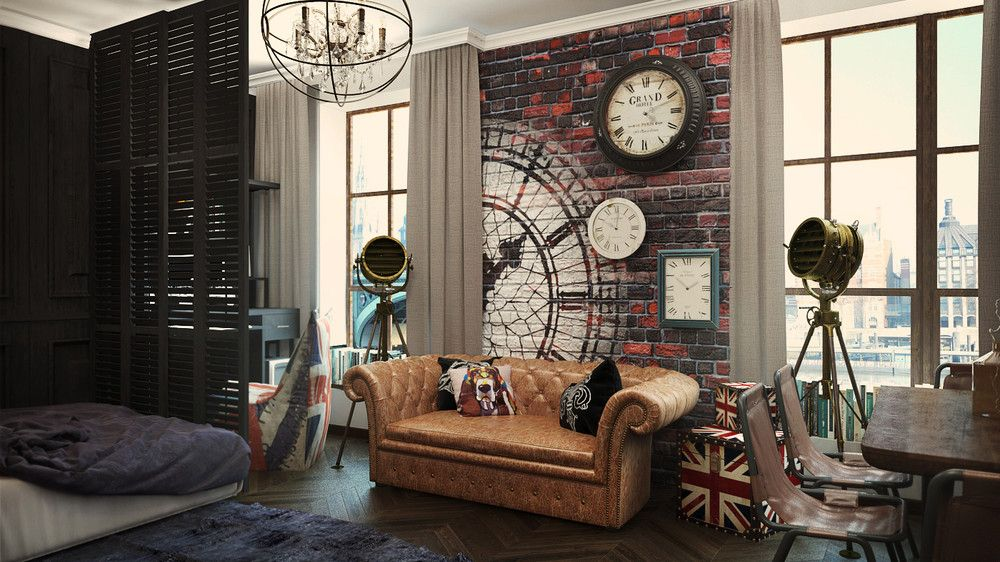 Open Plan Small Apartment Design Exposed Brick Wall And Classical Furniture  Looks Trendy And Modern   RooHome | Designs U0026 Plans