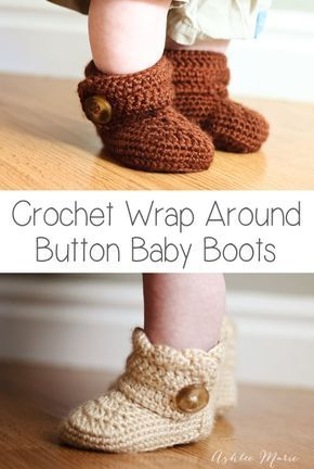 Crochet Wrap Around Button Baby Boots Girls And Boys Baby Boots