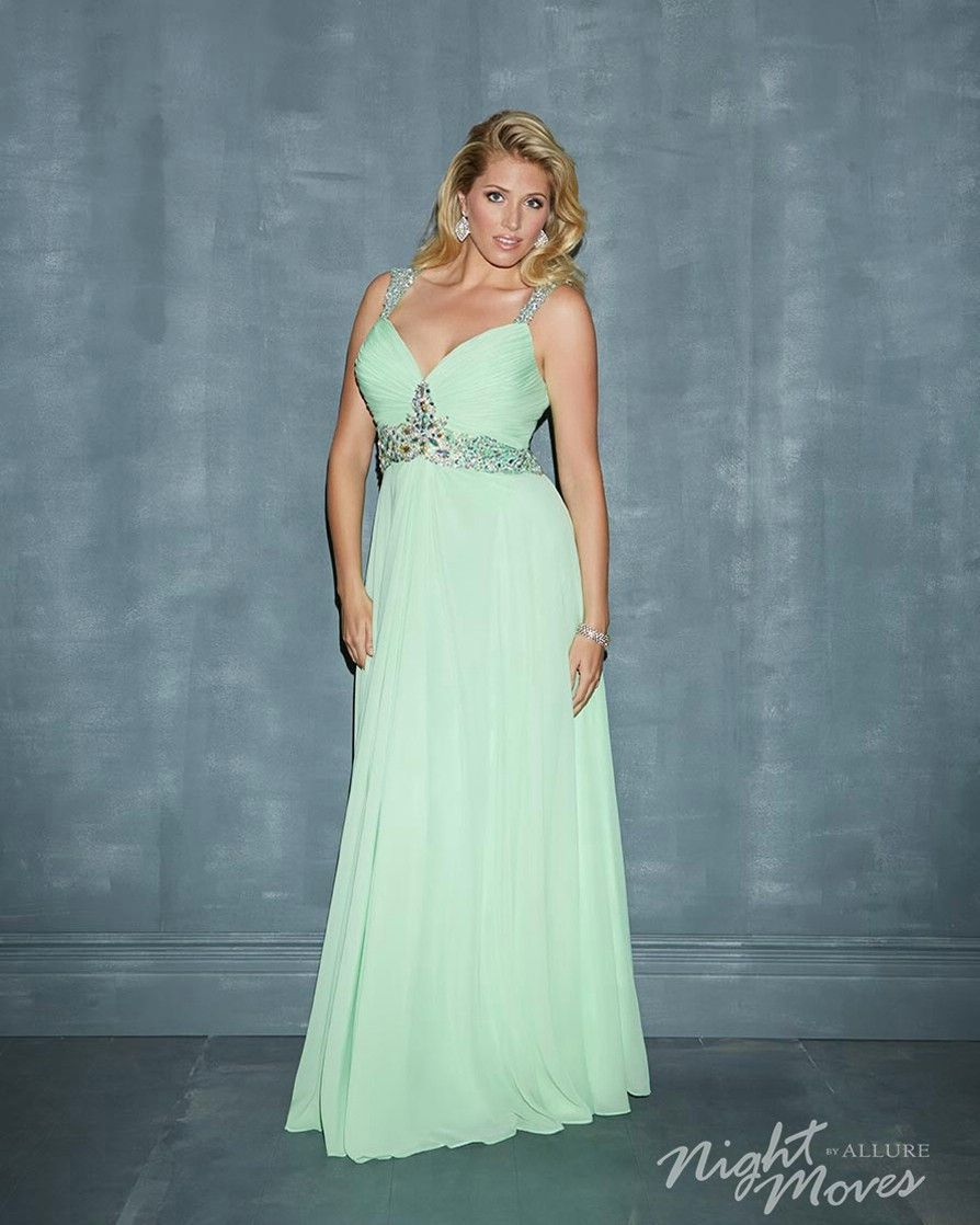 Night Moves by Allure 7138W Lime Size 24W chiffon prom dress ...