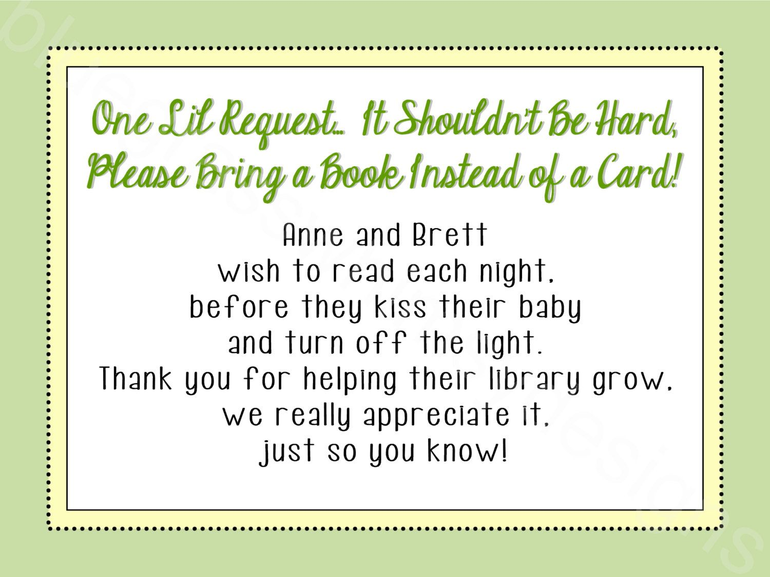 Bring a Card Instead of a Book Baby Shower Insert- Gender Neutral ...