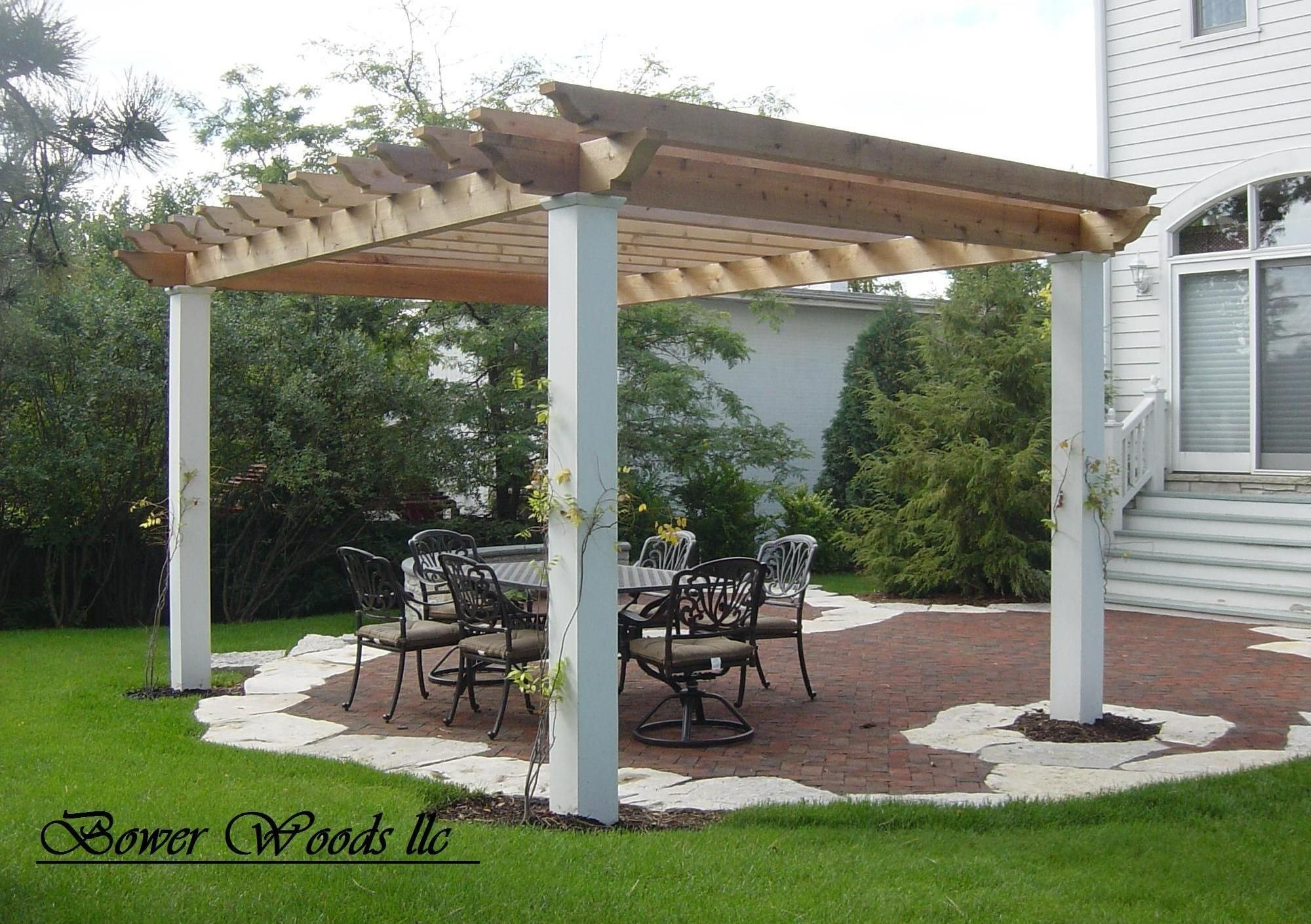 instruct how to build group a pergola and aspect pictures of