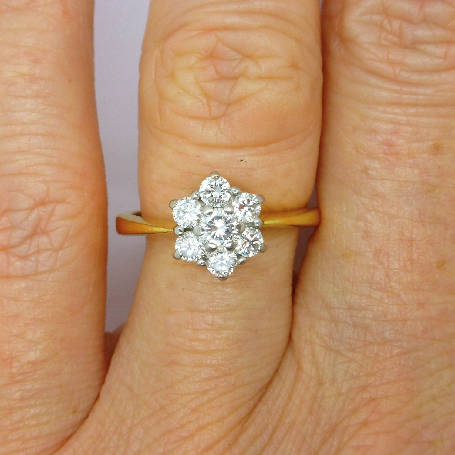 Vintage Diamond Cluster Engagement Ring 18ct18k Gold Estate Daisy Halo  Flower Ring 050tcw