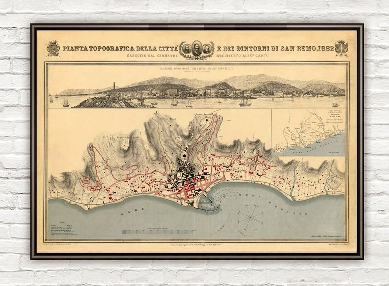 Old Map of San Remo 1882 SanRemo Italy Italia Italia Italy and