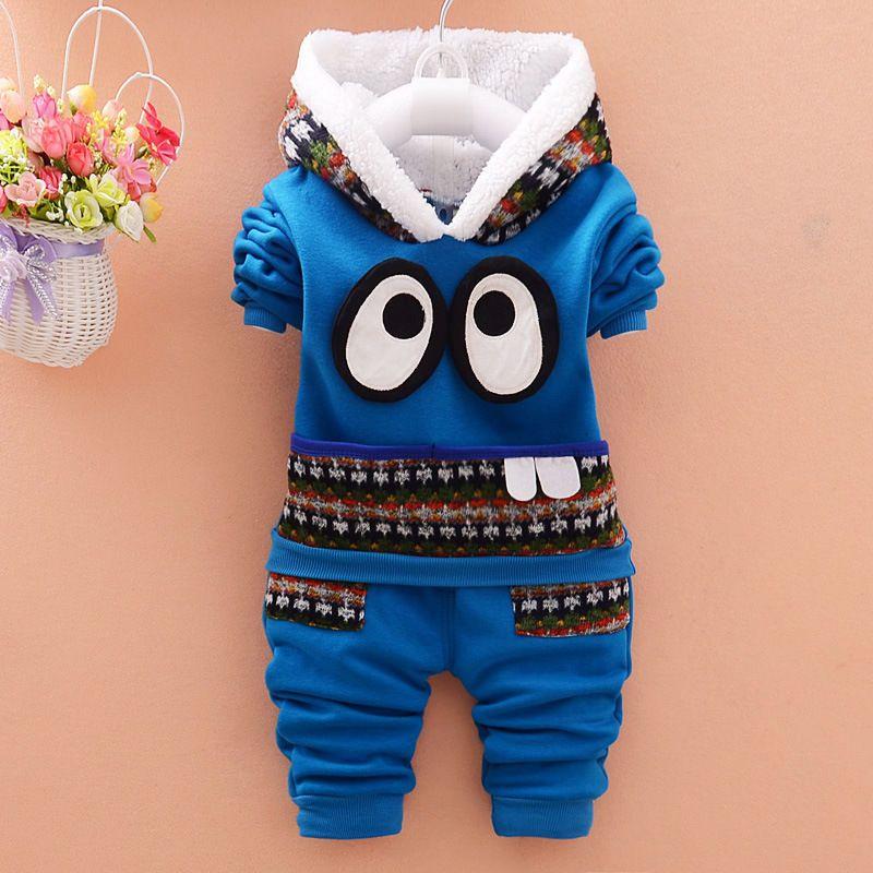 ecb6e2ea9 Nuevo Invierno Grueso Polar Bebé Niño Ropa 2 piezas conjunto Con Capucha  Chaqueta + pantalón Trajes