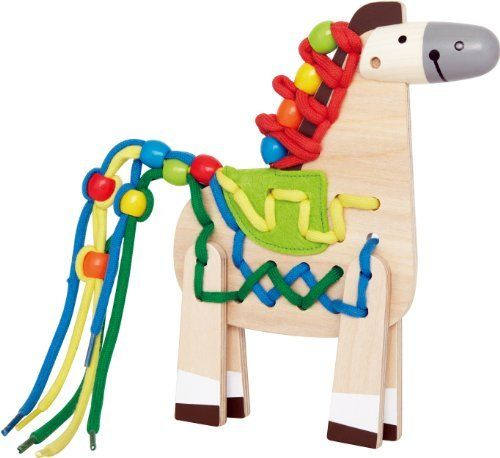 Hape Lacing Pony by Hape. $14.16. From the Manufacturer                A lace-up mane and tail lets kids customize this pony with color. Name the colors of each lace. Count the holes on the pony. Helps develop fine motor Skills, promotes dexterity , hand-eye coordination and creativity. 20 pieces. Durable child safe paint finish and solid wood construction are hallmarks of Hape toys. Hape's toys stimulate children through every stage of development and help nurture and deve...