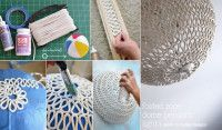 DIY Folded Rope Dome Pendant Light   DIY  Materials:  All purpose glue, Mod Podge hard coat, rope, painter's tape, and a beach ball.
