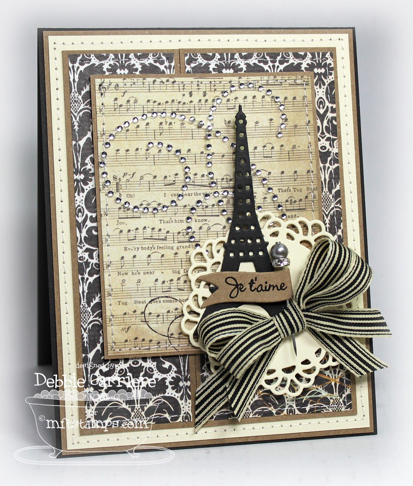 Vintage style scrapbook ideas - Mft Eiffel Tower Browns And Creams Vintage Style Card For My Handmade Greeting Cards