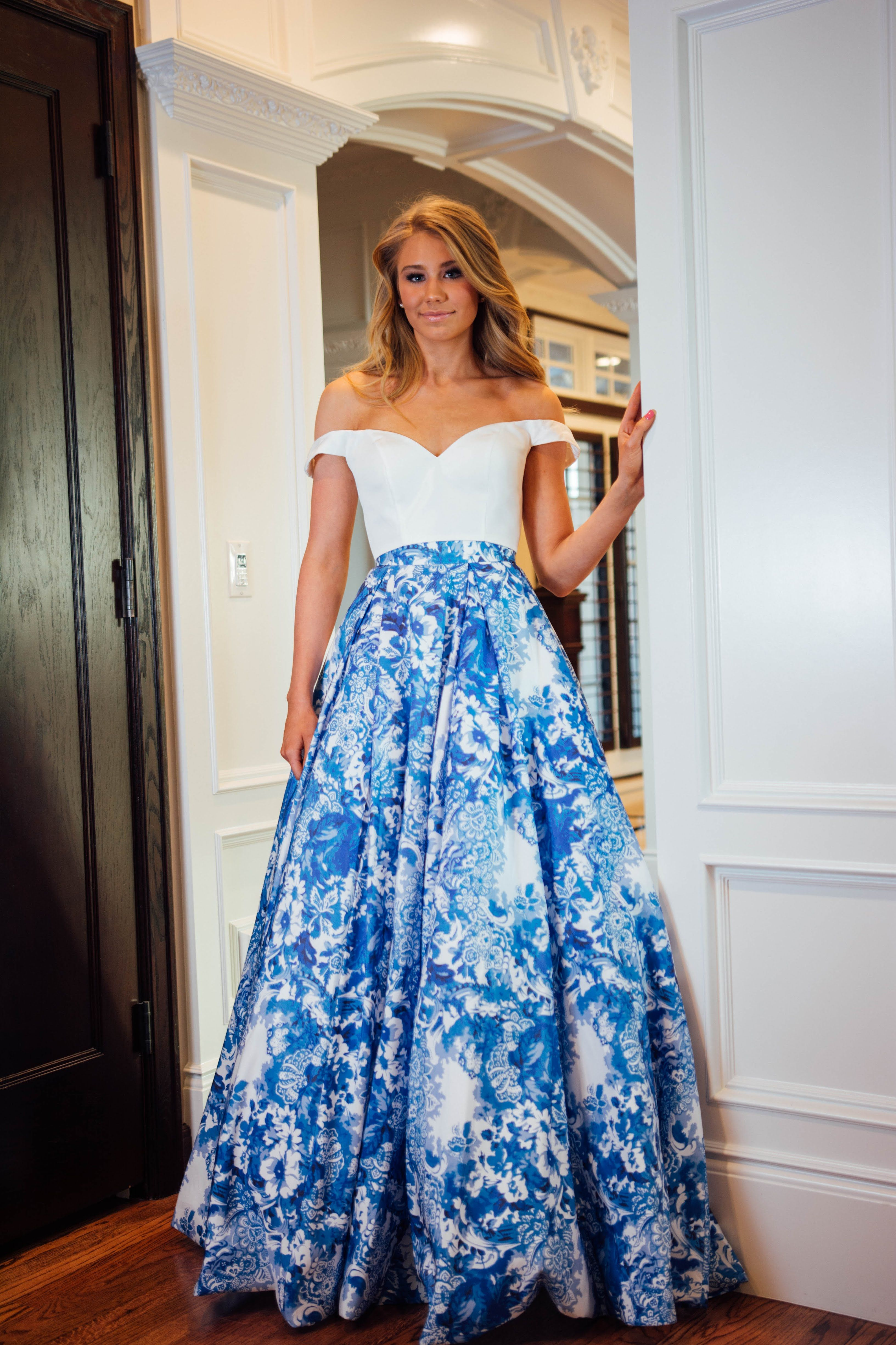 Sherri Hill Blue and White Print Ballgown 2 Piece Off the Shoulder ...