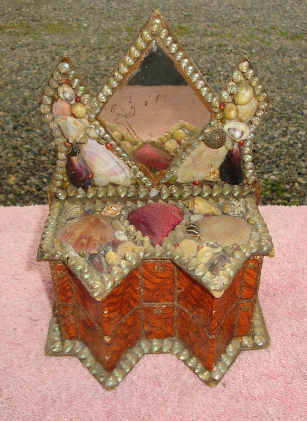 1800s Victorian Sailor Valentine Shell Art BIG Dresser Box HEART Pin Cushion
