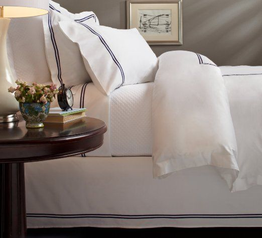 Amazon.com - Pinzon Hotel Stitch 400-Thread-Count Egyptian Cotton Sateen Full/Queen Duvet Cover, Navy - Pinzon White Duvet