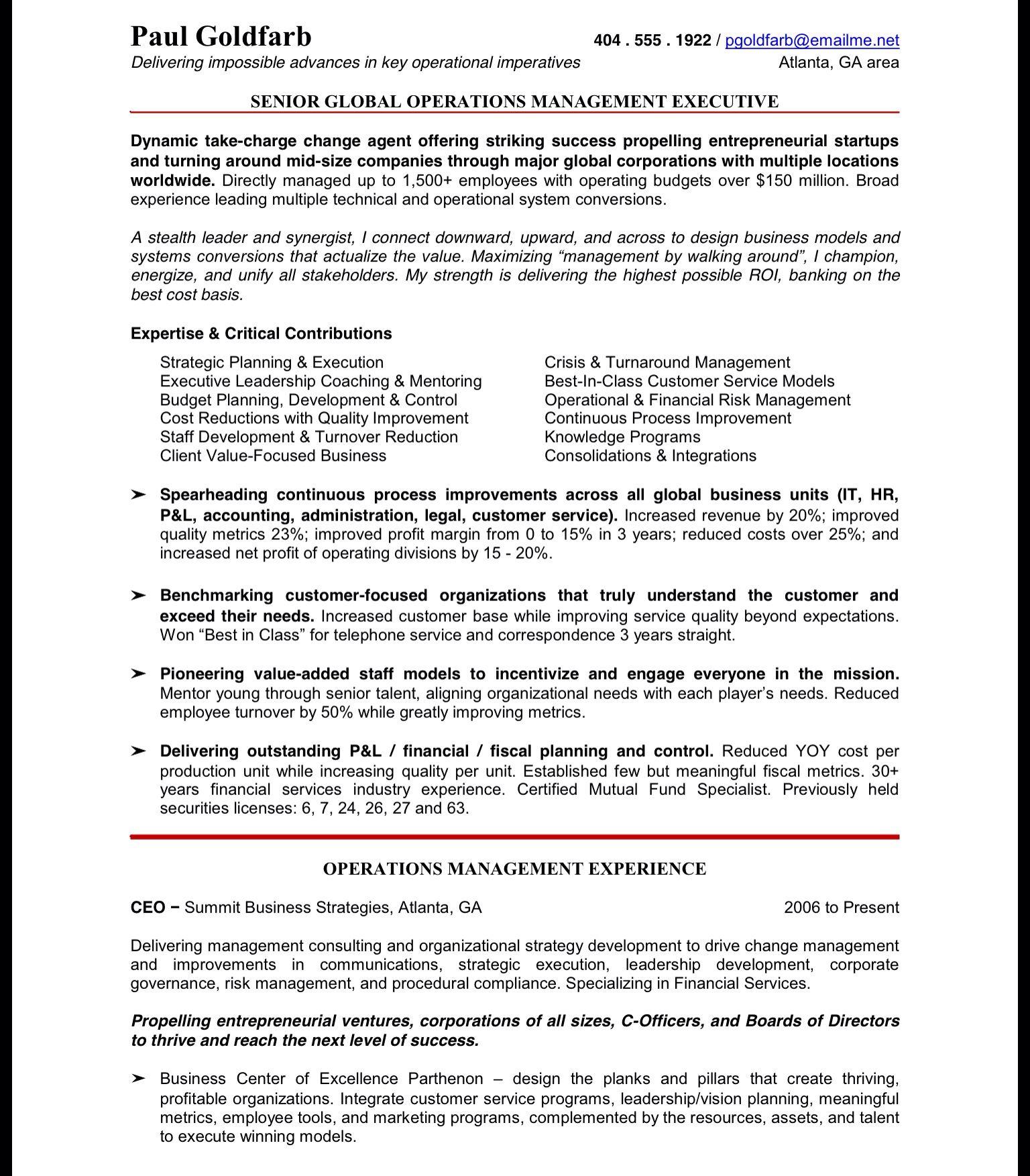 change management resume pdf