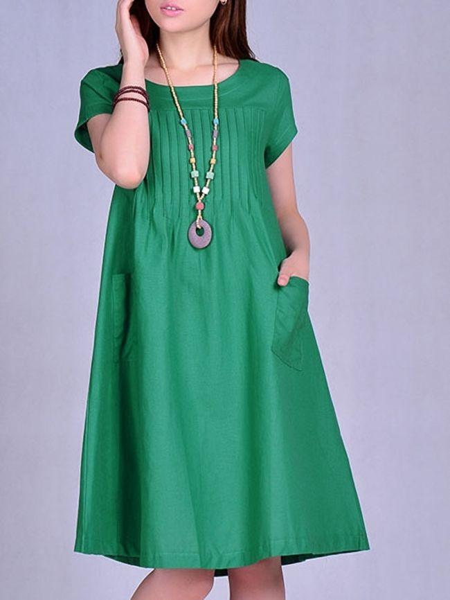 Casual Concise Round Neck Loose Fitting Plain Shift-dresses