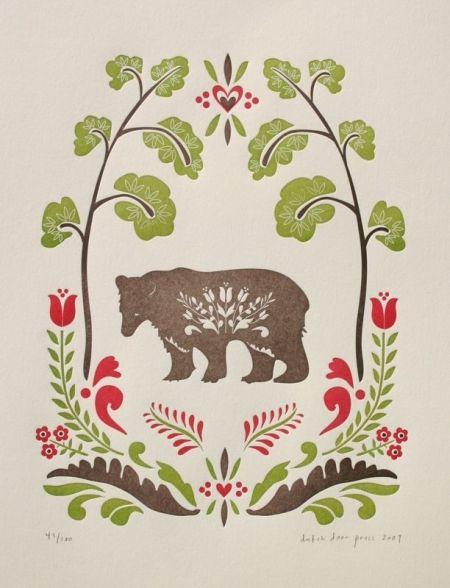 Folk Bear Print Little Paper Planes Scandinavian Folk Art Scandinavian Art Art
