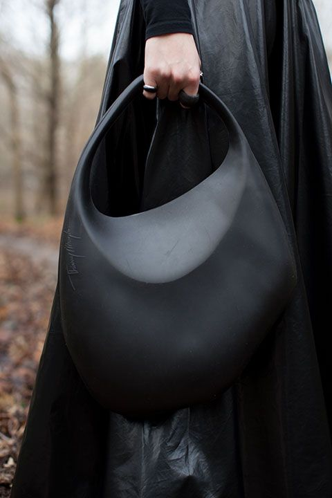Black Moulded Rubber Handbag Chic Fashion Accessories Thierry Mugler