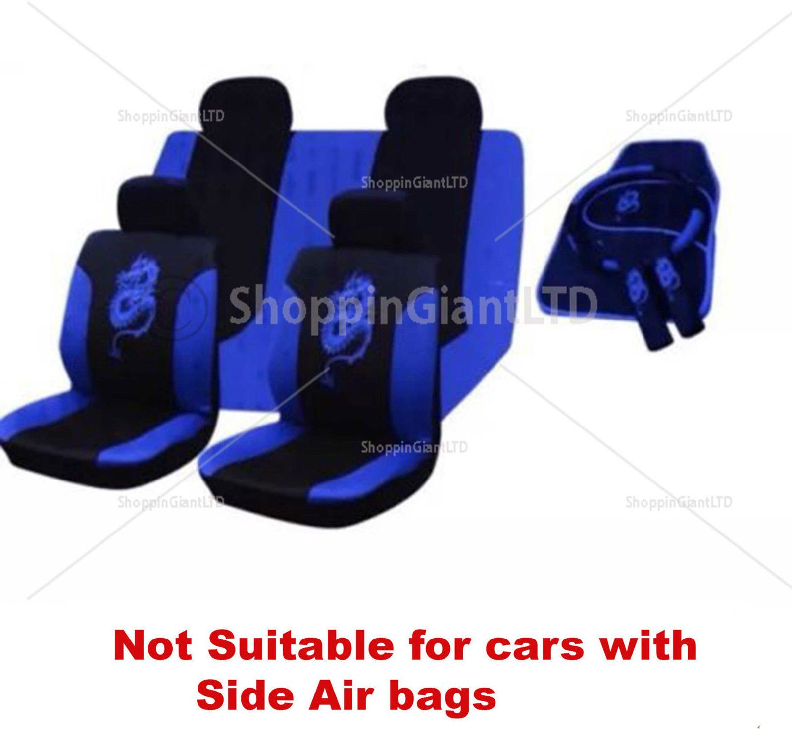 15PC BLUE BLACK DRAGON STYLE EMBROIDERED FULL CAR SEAT COVER SET FLOOR MATS
