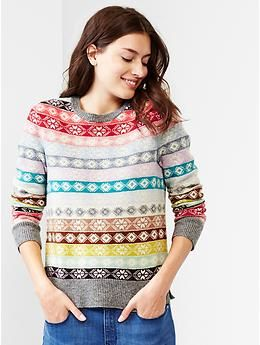Fair isle stripe wool sweater - multi stripe | Holiday Fashion ...