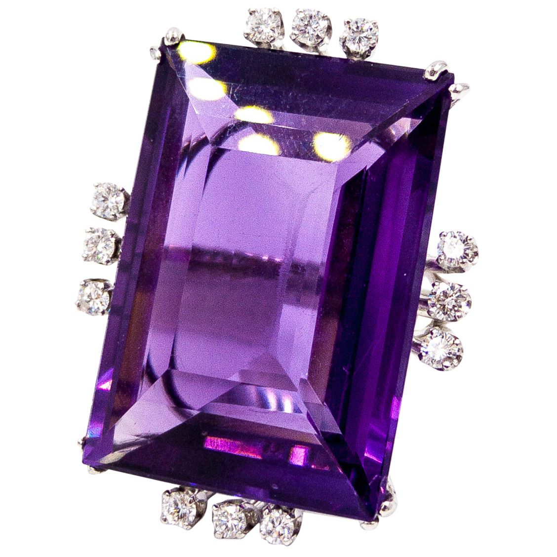 0efe0041021ab Spectacular 50 Carat Amethyst Diamond Gold Cocktail Ring in 2019 ...