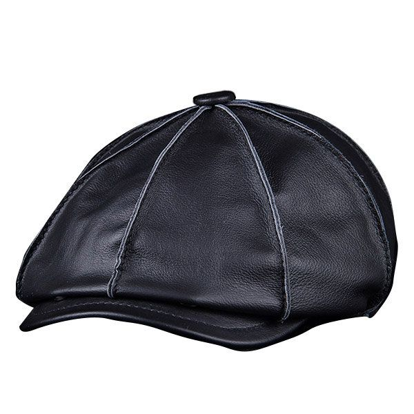 382fc6b8d Men's Genuine Leather Warm Octagonal Cap Casual Vintage Newsboy Cap ...