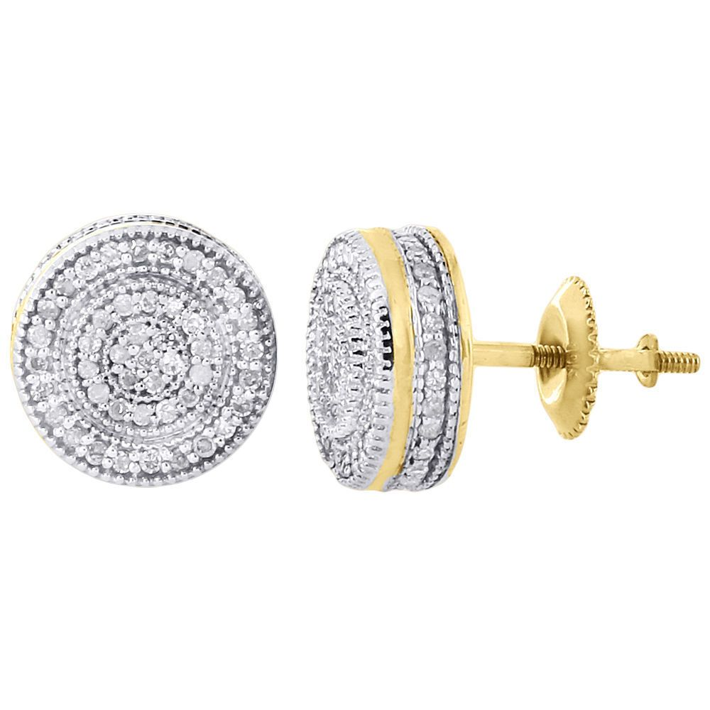 14K Yellow Gold Fn Mens Womens Diamond Stud Earrings Pave