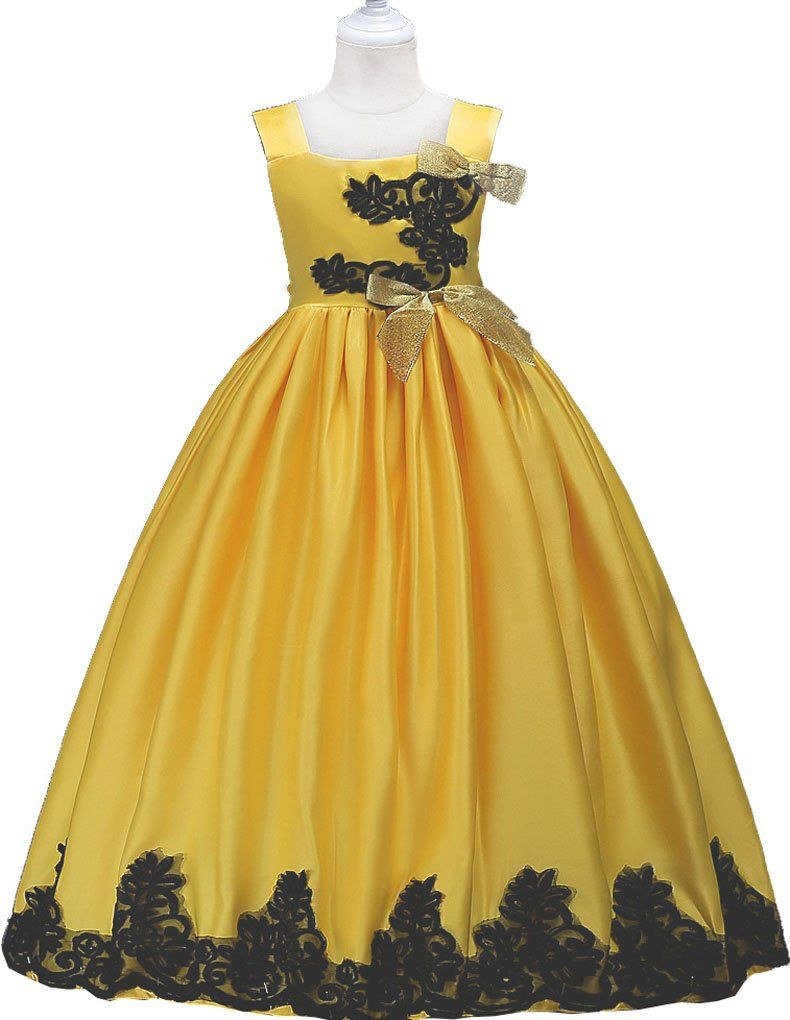 Big Girls Embroidered Floor Length Ball Gown Birthday Party Dress Yellow 12 13