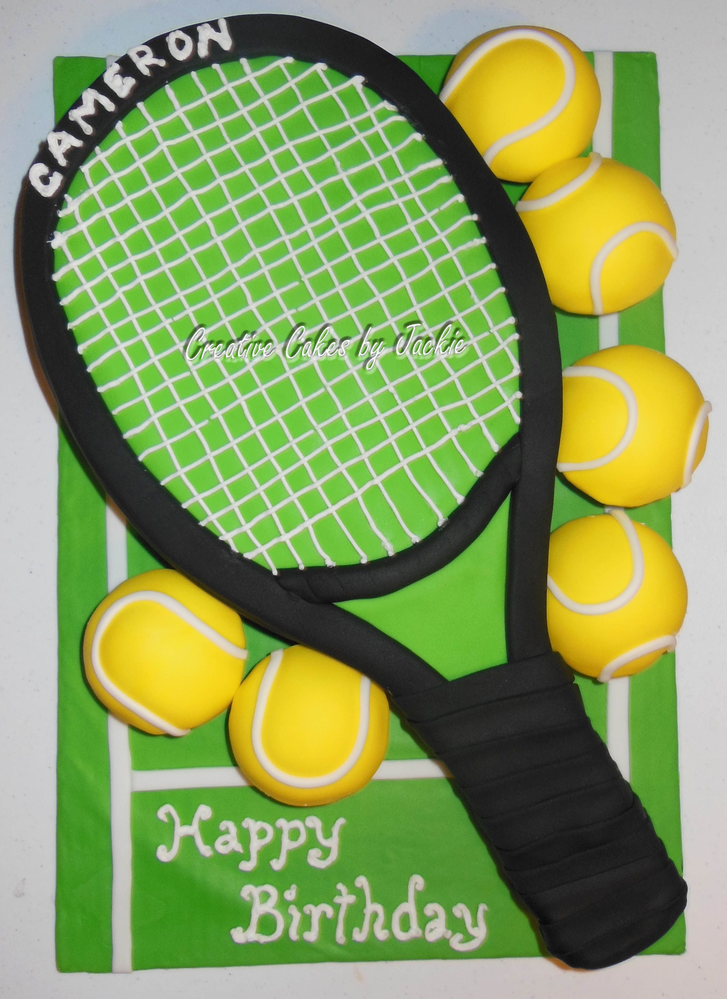 Tennis Racket Cake And Tennis Ball Cupcakes All Fondant Covered