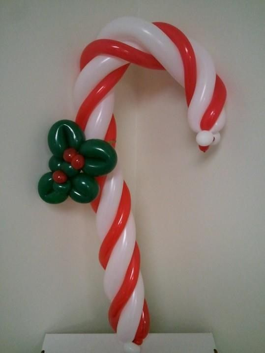 Candy cane with holly at northern ky university 2011 for Candy cane balloon sculpture