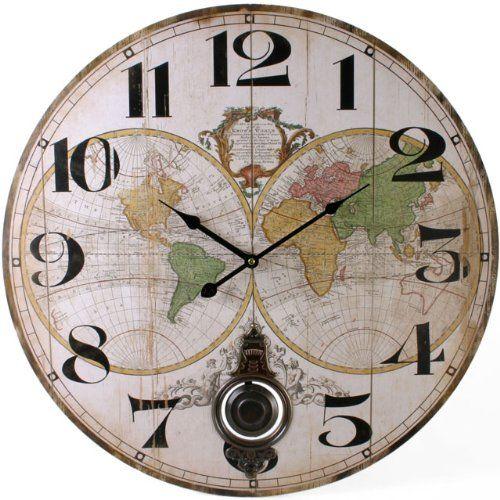 Large colourful world map round pendulum wall clock amazon large colourful world map round pendulum wall clock amazon kitchen gumiabroncs Choice Image