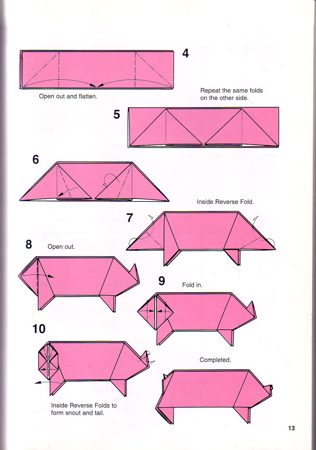 very simple pig origami instructions 1 papes pinterest